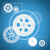 Cog wheels with squares on blue Royalty Free Stock Photos