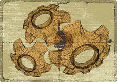 Cog wheels structures. Mechanics project sketches. Royalty Free Stock Photo