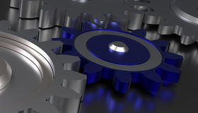 Cog wheels , teamwork concept. Cog wheels with a blue one in the middle, 3d rendering Stock Images