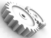 Cog wheels in white Royalty Free Stock Photography