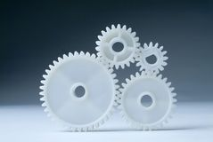 Cog wheels in white Royalty Free Stock Images