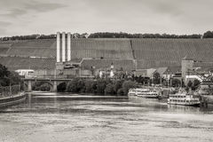 Cogeneration plant on the Main river bank in Wurzburg, Franconia Royalty Free Stock Photo