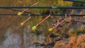 Cogida de pescados Bobber de la pesca en el agua Bobber de giro metrajes