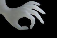 Cogiendo, tenedor ACEPTABLE de la exhibición del anillo de la resina de la forma de la mano para la exhibición de la joyería en e Imagen de archivo