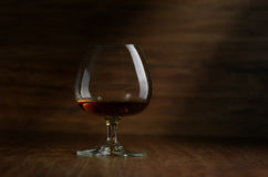 Cognac. In the big glass on a dark background Stock Photography