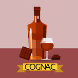 Cognac Bottle With Chocolate Alcohol Drink Icon Flat Royalty Free Stock Photos