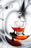 Brandy (whiskey), cognac in a bottle and glass Stock Photography
