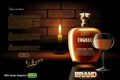 Cognac bottle with glass and candle. HiRes, Vector EPS10 file. 100% Layered and editable. Good for all sizes Stock Photos