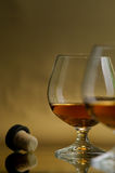 Cognac, brandy. Glass excellent brandy on a dark background Royalty Free Stock Images