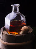 Cognac or brandy on a black Royalty Free Stock Image