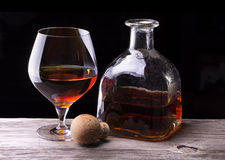 Cognac or brandy on a wooden table Royalty Free Stock Photography