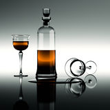 Cognac in a carafe. With glasses. One of them is overturned Royalty Free Stock Images