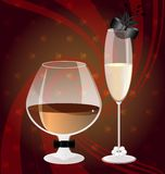 Cognac and champange. On an abstract red-brown background glass of brandy in the image of a man and a glass of champagne in the image of a lady Royalty Free Stock Photos