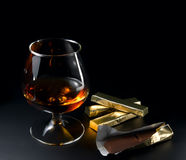 Cognac and chocolate Royalty Free Stock Images