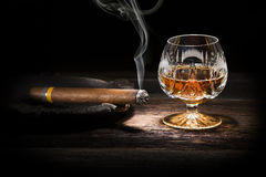 Cognac and cigar Royalty Free Stock Image