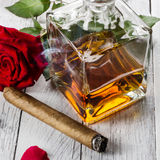Cognac with cigar Royalty Free Stock Image