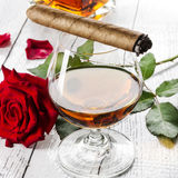 Cognac with cigar Royalty Free Stock Photos