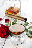 Cognac with cigar Royalty Free Stock Images