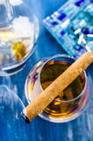 Cognac and cigar. Set on fire Stock Image
