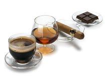 Cognac, cigare, café, chocolat Photographie stock
