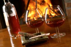 Cognac and cigars Royalty Free Stock Photo