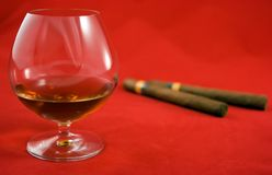 Cognac and cigars Royalty Free Stock Images