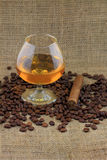 Cognac, coffee and Cigar. Stock Photos