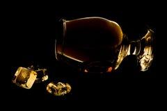 Cognac con ghiaccio Fotografia Stock