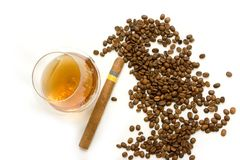 cognac de café de cigare photographie stock