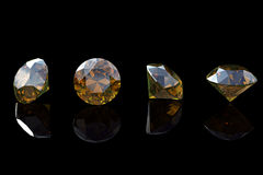Cognac diamond. Collections of jewelry gems. On black Royalty Free Stock Images