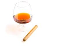 Cognac e sigaro Fotografie Stock Libere da Diritti