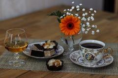 Cognac en koffie royalty-vrije stock foto's