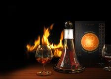 Cognac and Fireplace Stock Photos
