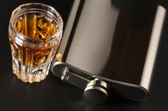 Cognac and flask Stock Images
