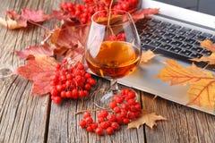 Cognac in Glas, Uitstekende Houten Achtergrond royalty-vrije stock afbeelding