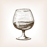 Cognac in glass sketch style vector Royalty Free Stock Photos