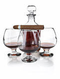 Cognac in goblet with cigar Stock Photography