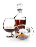 Cognac in goblet and decanter Stock Photos