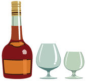 Cognac - Illustration. Bottle of brandy and two wine glasses Stock Photo