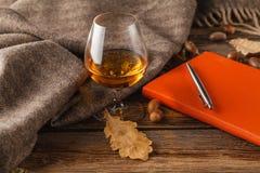 Cognac och röd bok med höstsidor på wood bakgrund - hav arkivbilder