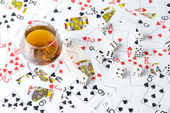 Cognac and playing card Royalty Free Stock Image