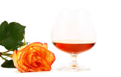 Cognac and rose Stock Images
