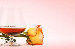 Cognac and rose Stock Photo