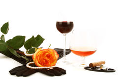 Cognac wine and rose Stock Photography