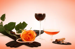 Cognac wine and rose Stock Images