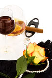 Cognac, wine and rose Royalty Free Stock Image