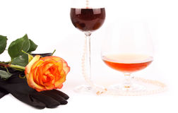 Cognac wine and rose Stock Image