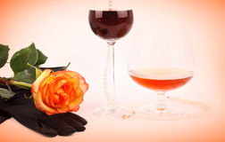 Cognac wine and rose Royalty Free Stock Photo