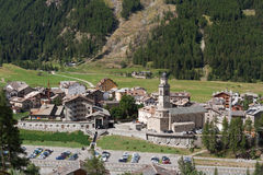 Cogne, Aosta Valley, Italy. Aerial view of Cogne, small town in Aosta Valley, Italy Stock Photography
