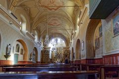 COGNE, ITALY/EUROPE - OCTOBER 26 : Interior view of Sant`Orso Ch stock image
